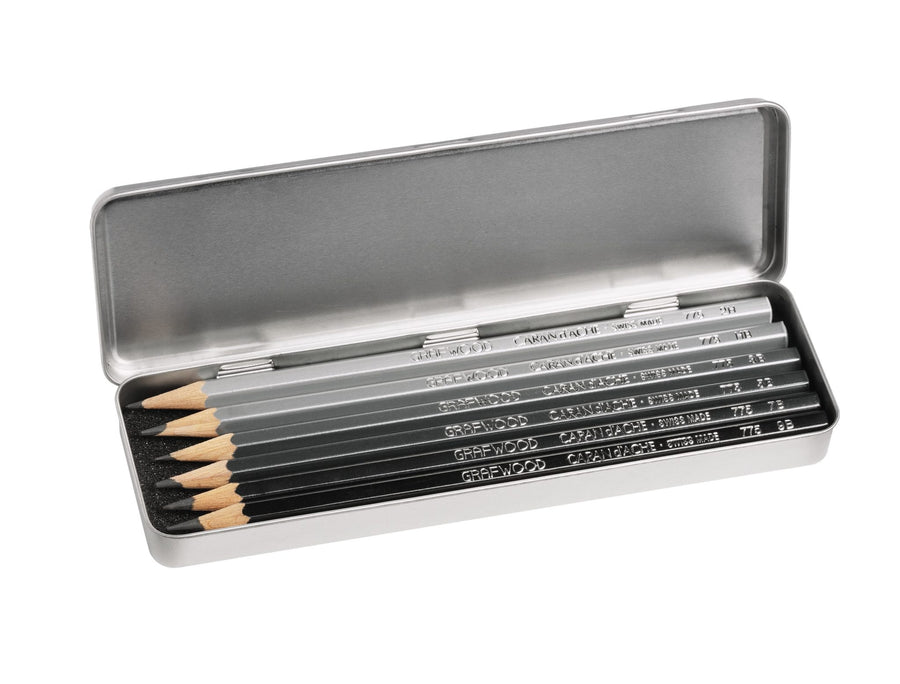 Caran d'Ache Grafwood Pencils 6 Pack Metal Box
