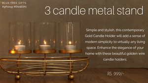 3 candle metal stand
