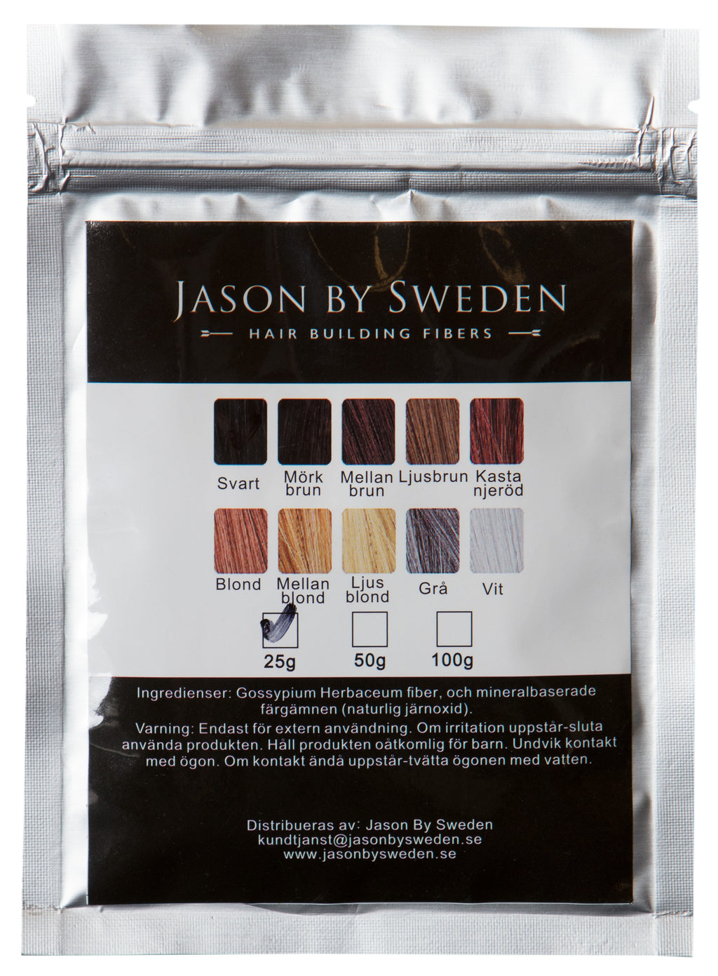 HÅRFIBER - JASON BY SWEDEN - REFILLPACK 30G - MEDIUM BROWN - MELLANBRUN