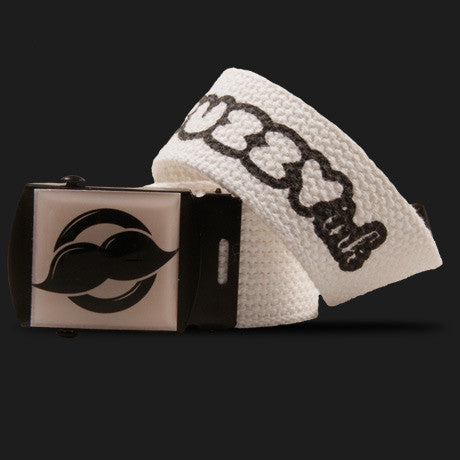 Mustache Logo Belt (White)