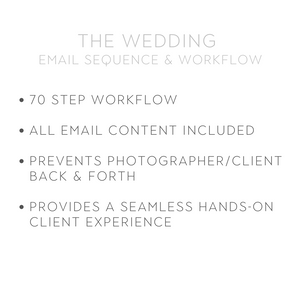 WEDDING PHOTOGRAPHER - EMAIL TEMPLATES/WORKFLOW