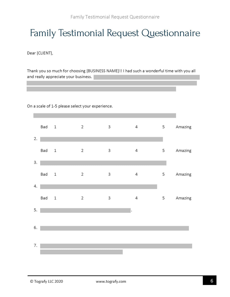 Family Testimonial Request Questionnaire