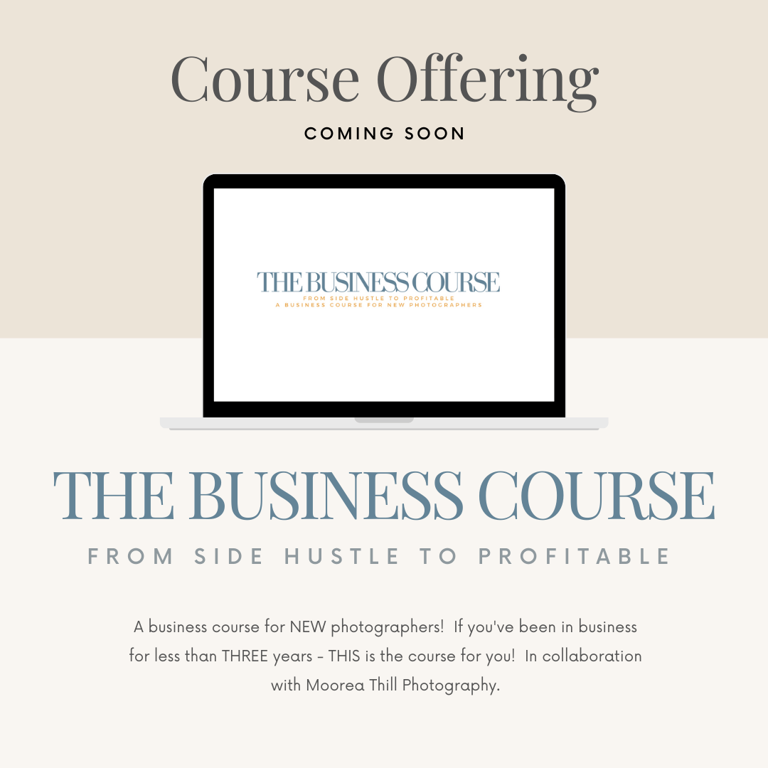 The business course for new photographers by kara hubbard and moorea thill photography, business help, new photographer business, tografy, business coach for photographers