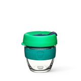 8oz KeepCup brew with glass cup, green lid and dark green rubber band