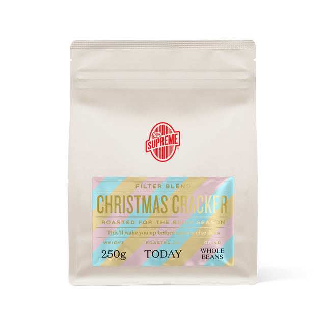 bag of Coffee Supreme Christmas Cracker blend filter roasted coffee beans
