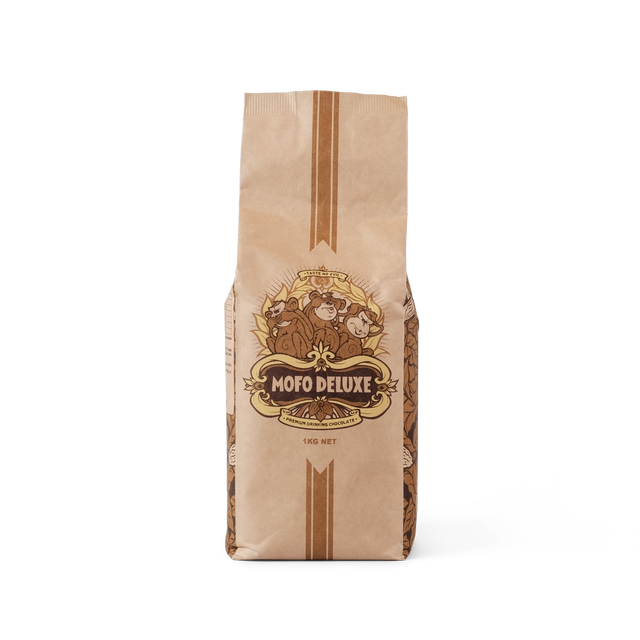 bag of Mofo deluxe premium drinking chocolate GMO and Gluten free