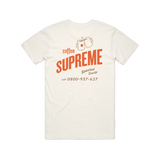 Coffee Supreme branded cream tee shirt with orange writing
