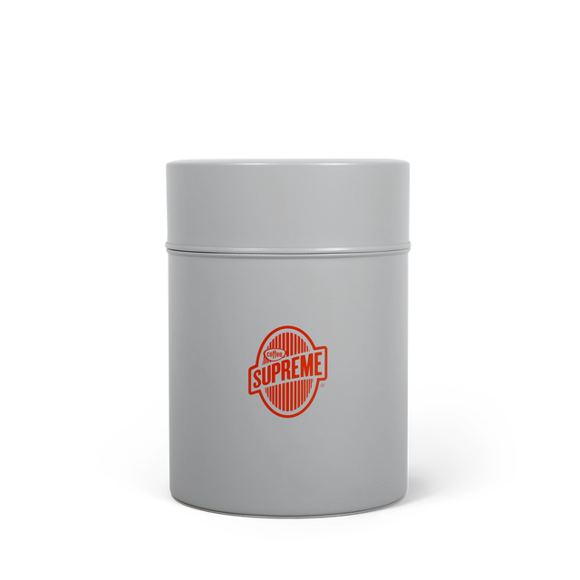Coffee Supreme branded grey coffee canister