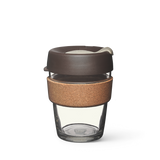 12oz KeepCup with glass cup, brown lid and cork band