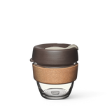 8oz KeepCup brew with glass cup, brown lid and cork band