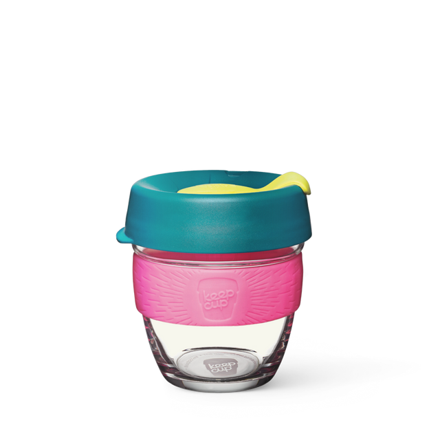 8oz KeepCup brew with glass cup, dark green lid and pink rubber band