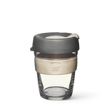 12oz KeepCup brew with glass cup, dark grey lid and cream rubber band