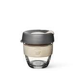 8oz KeepCup brew with glass cup, grey lid and cream rubber band