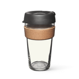 16oz KeepCup brew with glass cup, black lid and cork band