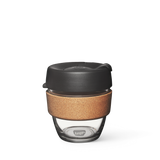 8oz KeepCup brew with glass cup, black lid and cork band