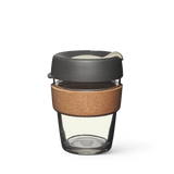 12oz KeepCup brew with glass cup, grey lid and cork band