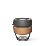 8oz KeepCup brew with glass cup, grey lid and cork band