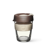12oz KeepCup brew with glass cup, brown lid and cream rubber band