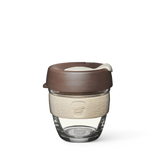 8oz KeepCup brew with glass cup, brown lid and cream rubber band