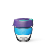 8oz KeepCup brew with glass cup, purple lid and blue rubber band