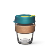 12oz KeepCup brew with glass cup, blue lid and cork band