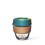 8oz KeepCup brew with glass cup, green lid and cork band