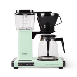 Technivorm Moccamaster coffee maker with glass carafe in pastel green