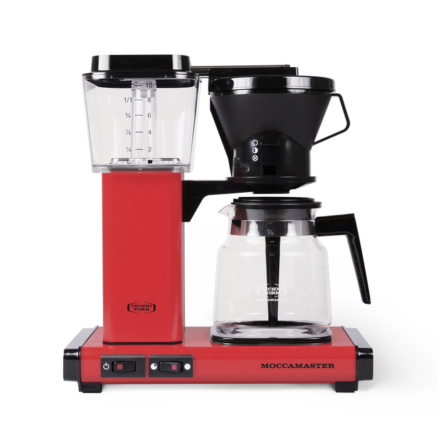 Technivorm Moccamaster coffee maker with glass carafe in red