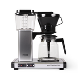 Technivorm Moccamaster coffee maker with glass carafe in silver