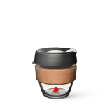 Coffee Supreme branded glass KeepCup with cork band