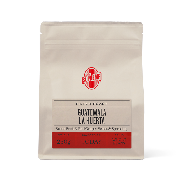 bag of single origin Guatemala La Huerta filter roasted coffee beans