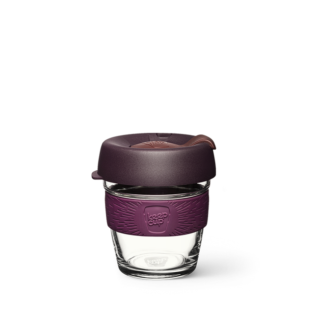 6oz KeepCup with glass cup, purple lid and purple rubber band