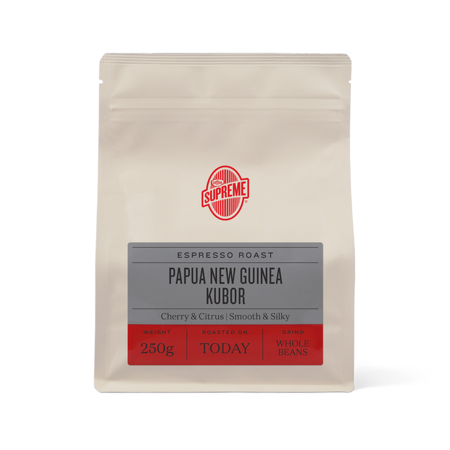 bag of Papua New Guinea Kubor single origin espresso roasted coffee beans