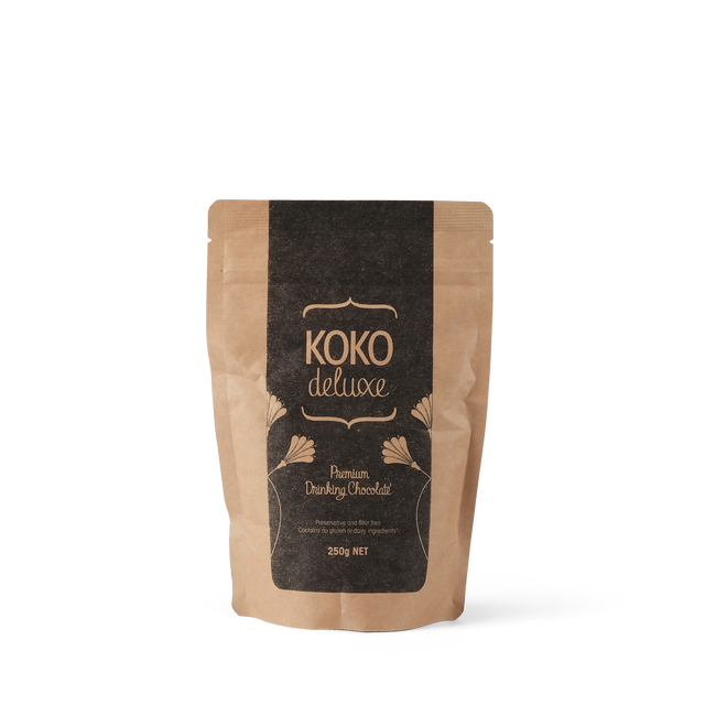 250g bag of KOKO Deluxe drinking chocolate powder GMO and gluten free