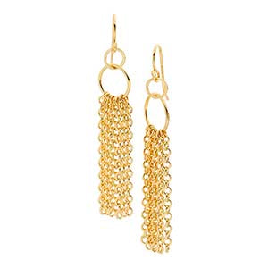 Gold Cable Chain Tassel Earrings