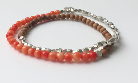 Coral/Sandalwood and Silver Nugget Double Wrap
