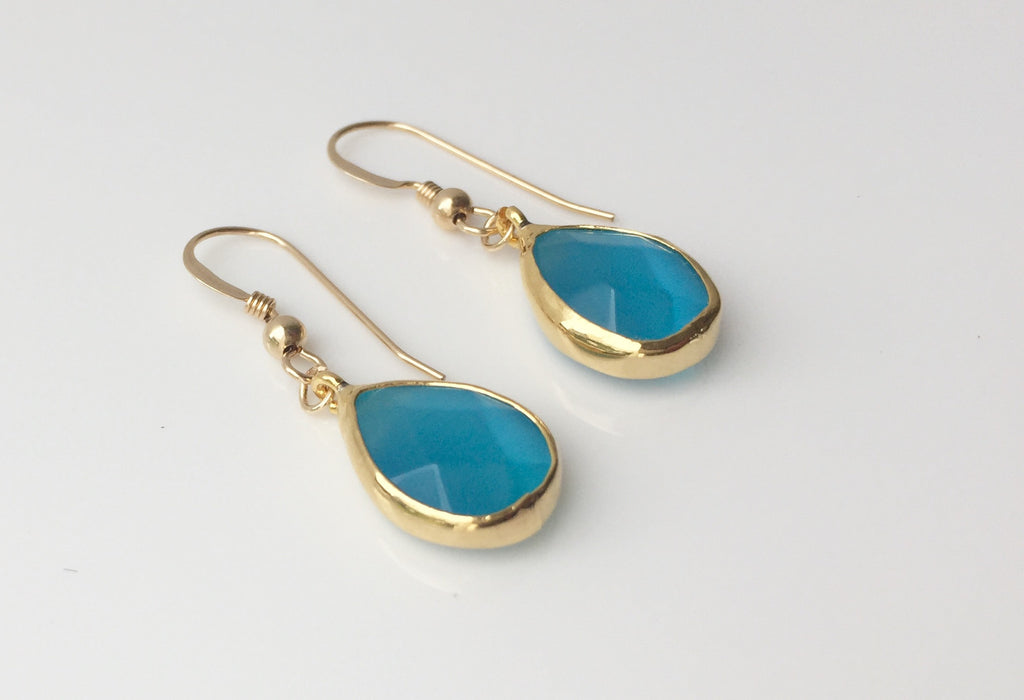 Turquoise Blue Faceted Cateye Drop Earrings