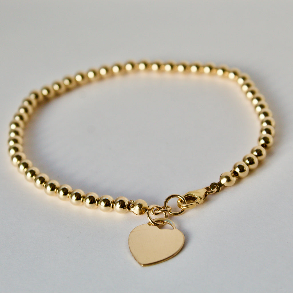 Gold Bead Heart Chain Bracelet
