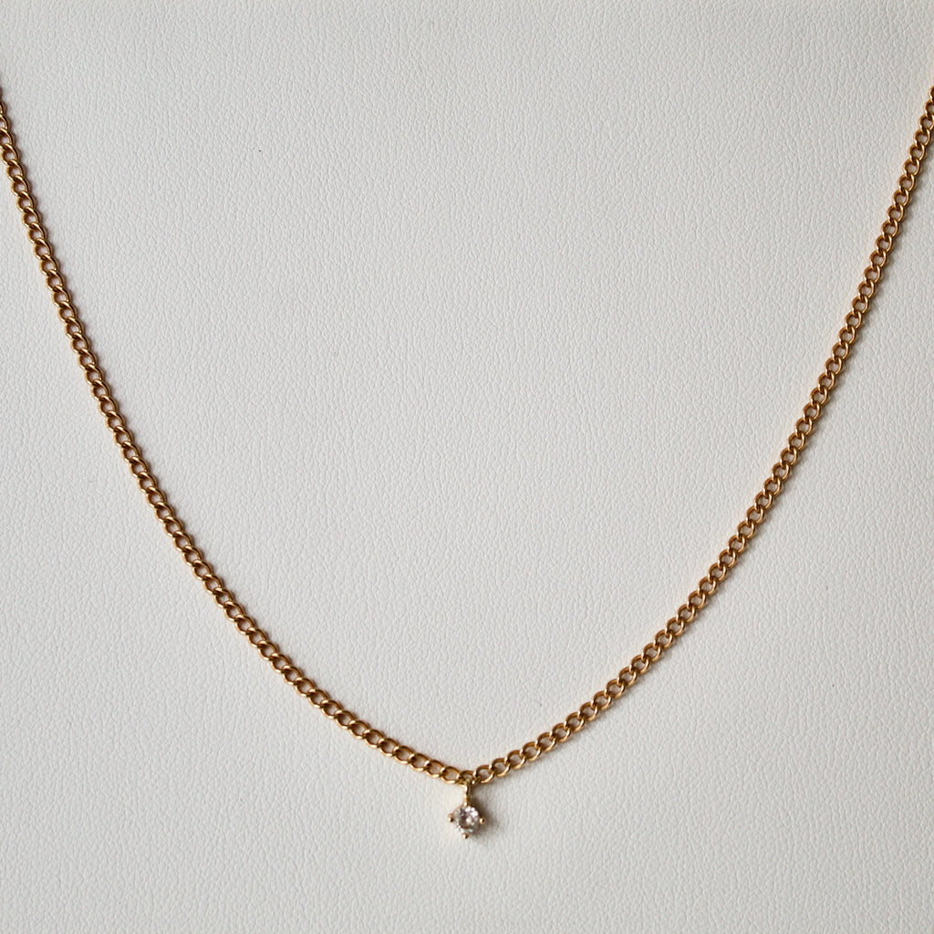 Curb Chain Diamanté Pendant Necklace