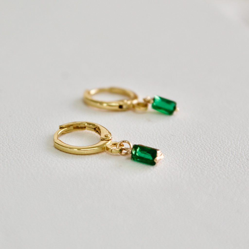 Emerald Green Drop Hoop Earrings