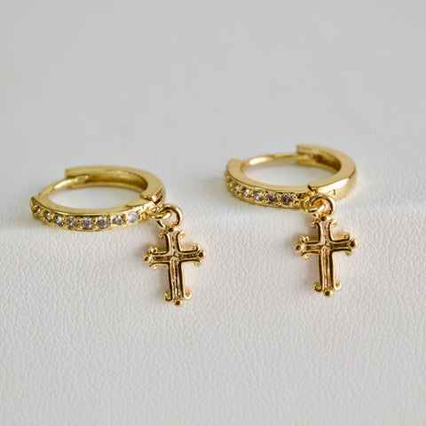 Diamante Huggie/Cross Earrings