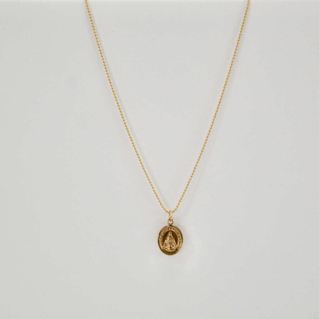 Gold Mother Mary Pendant Necklace
