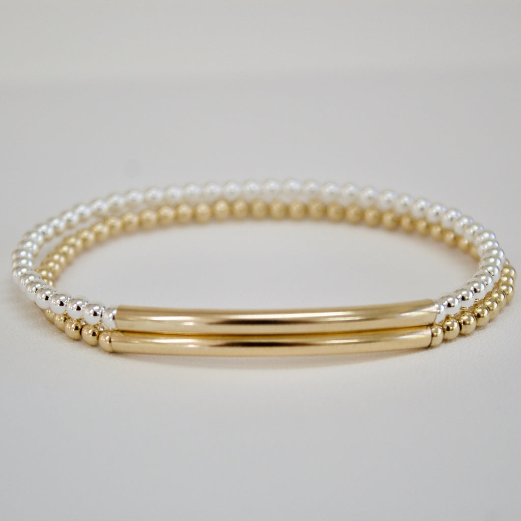 Gold/Silver Bar Bead Bracelet