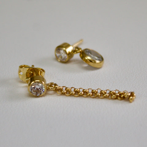 Diamante Drop/Chain Earrings