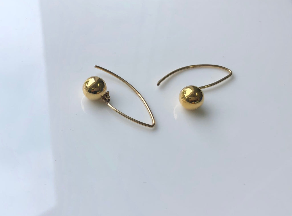 Gold Ball Marquise Hook Earrings