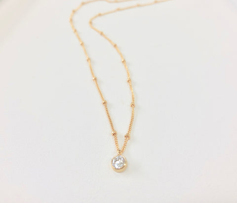 Gold Satellite Chain Petite Diamante Necklace