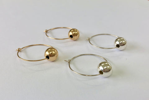 Large Ball Hoop Earrings