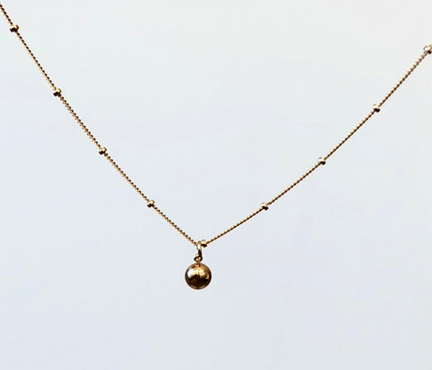 Gold Satellite Chain Ball Pendant Necklace