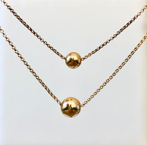 Gold Ball Rolo Chain Necklace