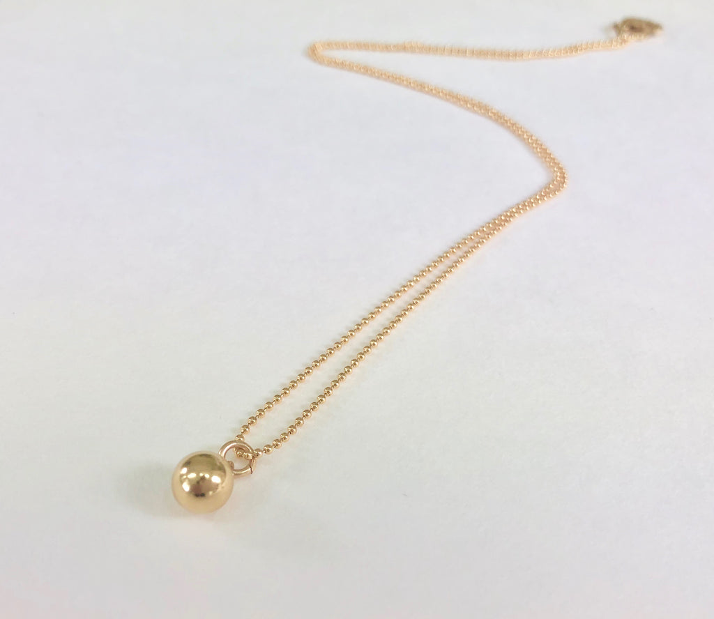 Gold Ball Chain Ball Pendant Necklace